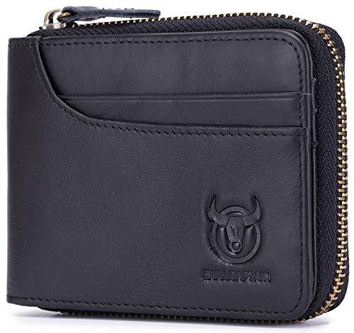BULLCAPTAIN Zipper Men Wallet Leather Bifold Antimagnetic RFID Blocking Wallets Card Holder 1