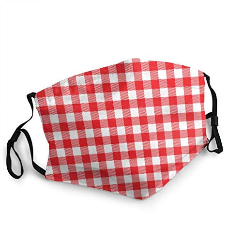 3d Rose Red Gingham Texture Rhombussquares Food And Drink Reusable Face Mask Balaclava Washable Outdoor Nose Mouth Cover Fashion for Unisex Men Women