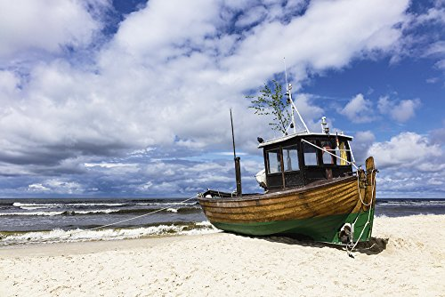 Artland Qualitätsbilder I Wandtattoo Wandsticker Wandaufkleber 120 x 80 cm Fahrzeuge Boote Schiffe Foto Blau D0FJ Fischerboot in Ahlbeck auf der Insel Usedom