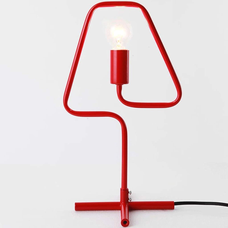 Einfache Moderne Wohnzimmer Macaron Schreibtisch Und Andere Schlafzimmer Nachttischlampe Schmiedeeisen Tischlampe E14 Lichtquelle  1 (Farbe   rot)
