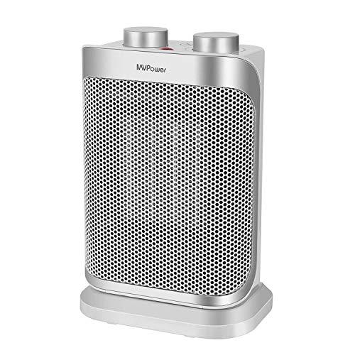 MVPower 1500W Radiateur Soufflant Céramique,3 Niveaux de Puissance Thermostat, Fonction de Ventilation, Contrôle de Basculement, Protection contre la Surchauffage, Fusible thermique, Certifié GS