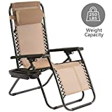 Mesh Back Zero Gravity Chair Patio Chairs Folding Patio Chaise Lounge Chair with Pillow and Utility Cup Holder Portable Lounge Recliner for Outdoor Deck Patio Lawn Pool Side Yard Beach Camping,Tan