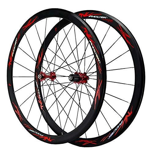 700c Road Bike Wheelset 2 Pcs Super Light Bicycle For 7-12 Speed Freewheel Rim Height 40mm C/V Brake Quick Release Front 20H Rear 24H Wheels (Color : A)
