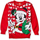 Disney Boys' Ugly Christmas Sweater, Mickey/Red, Large (12/14)