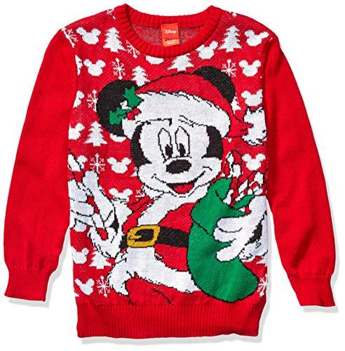 Disney Boys' Ugly Christmas Sweater, Mickey/Red, Medium (8/10)