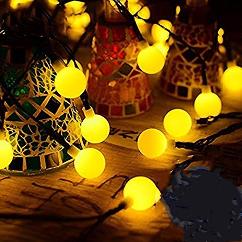 FANSIR Solar String Lights Garden, 23ft 50 LED Globe String Lights Outdoor Solar Powered Fairy Lights Waterproof 8 Modes Mini Ball Decorative Light for Garden Yard Home Wedding, Warm White