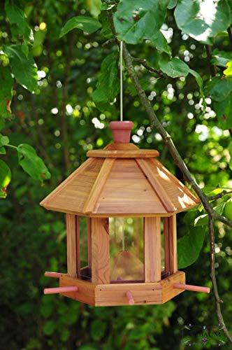 Vogelhaus /garten vogelhäuser, Futterhaus aus Holz behandelt BRAUN / LOTUS-Vogelhäuschen XL, aus Zedernholz mit BELEUCHTUNG / LED, mit Holzschindel ROT-BRAUN mit 6 Futterstationen / sechseckig / mit Silo Volumen für 1,2 Liter Vogelfutter