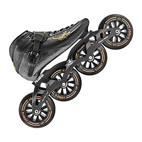 Professional Carbon Fiber Speed Skates Adult Men's and Women's Skates 4-Wheels Single-Row Roller Skates Shoes Black Inline Skate Shoes (Black, US9/EU42)