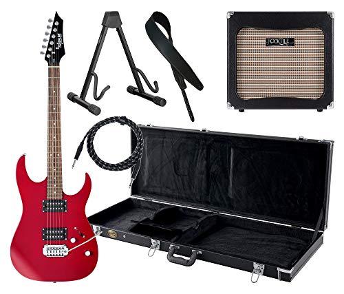 Shaman Element Series HX-100 RD Komplett Set - E-Gitarre - Modeling-Verstärker - Koffer - Ledergurt - Ständer - Kabel - Satin Red