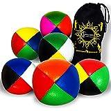 Flames 'N Games - Set di 5 palline da giocoleria in pelle con 4 colori, per tutte le abili...