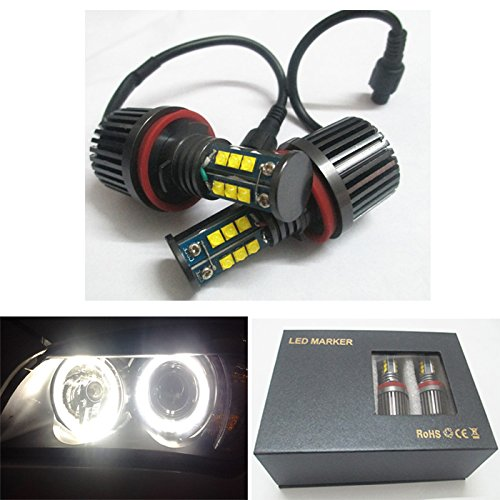 GFJMC 2x H8 120W CREE LED Halo Headlight Bulbs 6500K Angel Eyes for BMW E60 E61