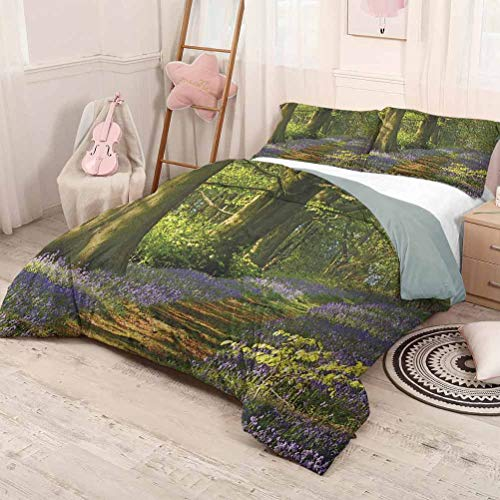 HELLOLEON (Twin) Woodland Pure Bedding Hotel Luxury Bed Linen A Carpet of Bluebells Spreads Through Woodland in Staffordshire England Polyester - Soft and Breathable Green Purple Brown