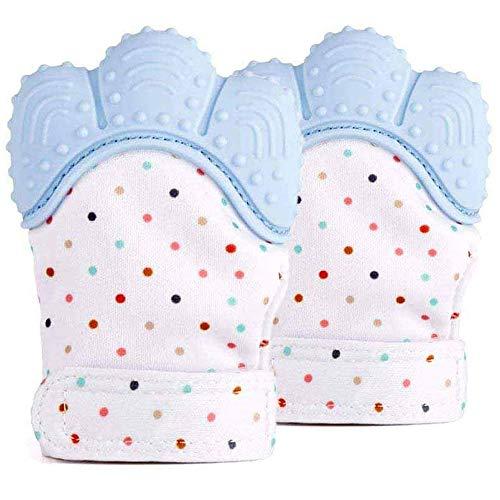 Guante Mordedera para bebés , Guante de dentición para bebé,Baby dentición Manoplas Lavable, de 3 a 12 meses, para aliviar el dolor, protege las manos de los bebés de salvia y masticar con correa ajustable y segura.(Azul)