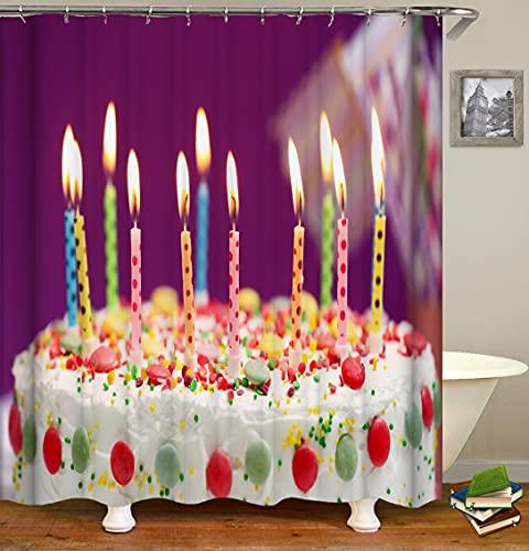 AFDSJJDK Duschvorhang Duschvorhänge Kuchen Geburtstag Süßigkeiten Druckvorhänge für BadezimmerBild180cm x 180cm