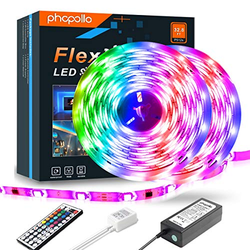 Led Strip Lights RGB Color Changing P512S 32.8ft 600 LEDs 5050 Color Changing Waterproof Flexible...