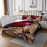 Gepard Bettüberwurf Leopard Rose Drucken Steppdecke für Kinder Jungen Mädchen Tierwelt Tagesdecke 220x240cm Sanftr Luxus mit 2 Kissenbezug Wohndecke 3St