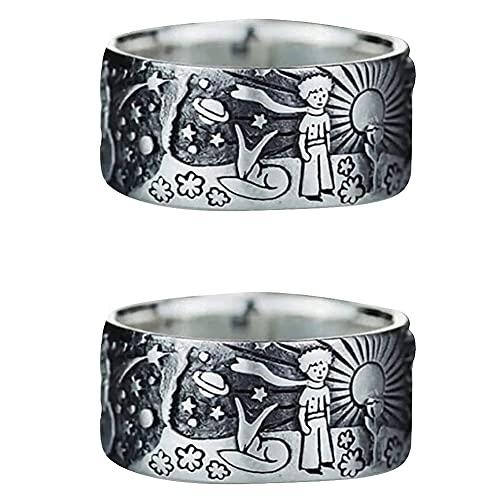 2 piezas The Little Prince Universe Ring, tamaño EE. UU. 6-10, anillo inspirado en el anime Little Prince, Little Prince Snowflake Sun Universe Ring, regalos de cumpleaños para mujeres hombres (8)