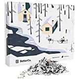 BetterCo. Sleigh Ride Winter Snow Puzzle, Jigsaw Tiles for Arts and Craft, Recreation Toy for Kids and Adults, Home Room Office Decor, Assorted Gradient Colors - 1000 Pieces Box Set