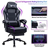 FANTASYLAB Big & Tall 400lb Massage Memory Foam Reclining Gaming Chair Metal Base - Adjustable Back Angle and Retractable Footrest Ergonomic High-Back Leather Racing Computer Desk Office Chair, Gray