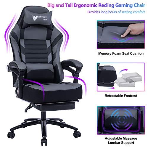 FANTASYLAB Big & Tall 400lb Massage Memory Foam Reclining Gaming Chair...