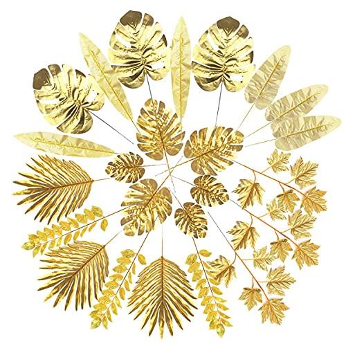 Kesio Künstliche Blätter, goldfarbene Palmenblätter, tropische Pflanzen, Palmblätter, künstliche Blätter, für Hochzeit, Geburtstag, Party, Zuhause, 24 Stück