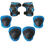 MiNiSports Kids Protective Gear 6 in 1 Set - Toddler Knee and Elbow Pads with Wrist Guards for Rollerblade Roller Skates Cycling BMX Bike Skateboard Inline Skatings Scooter Riding Sports