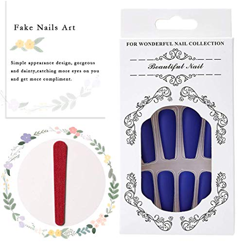 Derora Coffin Press on Nails Fake Nails Long False Nails Full Cover Nails Acrylic Nails Tips for Women and Girls (24Pcs) (Light Blue)