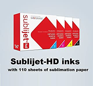 Sublijet HD Ink Cartridges for Sawgrass Virtuoso SG400 and SG800 Printer. Complete Set (CMYK). with 110 Sheets of Our Sublimation Paper Made in Japan.