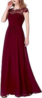 Ever-Pretty Vestidos de Fiesta Encaje Gasa Cuello Redondo Corte Imperio A-línea para Mujer 09993
