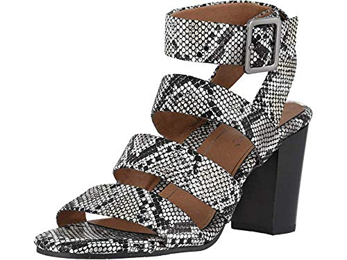 Vionic Women's Perk Blaire Open Toe Heel - Ladies Strappy Sandal with Concealed Orthotic Arch Support Natural Snake 6.5 Medium US