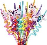 24 PCS Unicornio Pajitas , Pajitas de con Diseño de Unicornio para Fiestas, piezas Pajitas de...