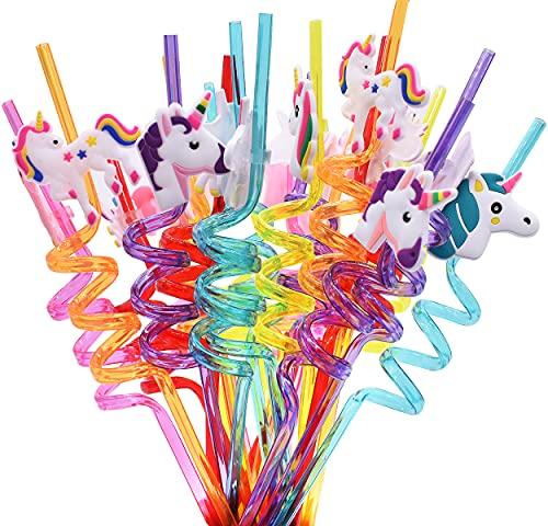 Cannucce Unicorno, 24 Pezzi Cannucce Riutilizzabili in Plastica, Cannucce Riutilizzabili a Forma di Unicorno, Decorazioni da Tavola per Feste di Famiglia