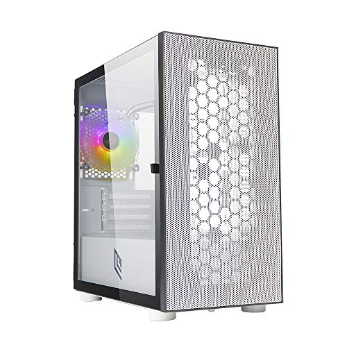 Noua Fobia L8 - Carcasa para PC Gaming Mini Tower 0,60 mm SPCC Ventilador White RGB Rainbow Frontal Mesh & Panel lateral de cristal templado Cierre magnético (AxPxL): 405 x 380 x 210 mm