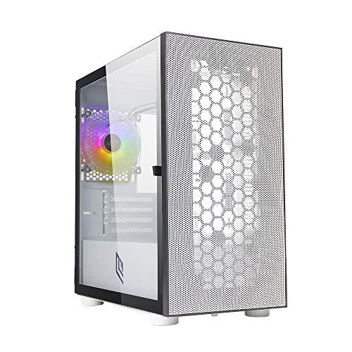 Noua Fobia L8 Bianco Case Micro ATX per PC Gaming Mini Tower 0.60MM SPCC Ventola White RGB Rainbow Frontale Mesh & Pannello Laterale in Vetro Temperato Chiusura Magnetica (AxPxL: 405x380x210 mm)