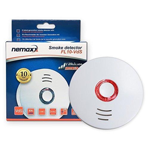 Nemaxx 1x FL10VdS Rauchmelder - hochwertiger Rauchwarnmelder nach neuestem VdS Standard zertifiziert...
