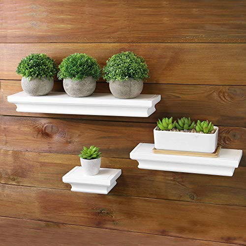 3 estantes flotantes blancos | Conjunto de 3 estantes de pared | Accesorios de almacenamiento en estanterías | Estante de exhibición | Oficina decorativa, baño y dormitorio de almacenamiento | M&W