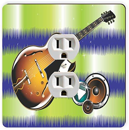 Rikki Knight Jammin Gitarre auf Grün Wellen einzigen Steckdose Teller