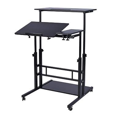 AIZ Mobile Standing Desk, Adjustable Computer Desk Rolling Laptop Desk Cart on Wheels Home Office Computer Workstation, Portable Laptop Stand Tall Table for Standing or Sitting, Black