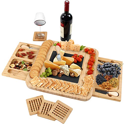 GRANDMA SHARK Bamboo Cheese Board Set, Fruit Food Board Set, Suitable use...