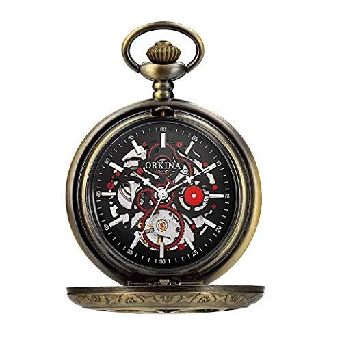 Reloj de Bolsillo clásico y Elegante. Reloj de Bolsillo con la Cadena, Tallado clásico de la Vendimia Grande Clamshell mecánica Hueco, día de como Padre/Aniversario Relojes Elder Regalo/for Hombre