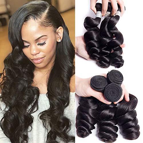 Maxine Hair Grade 10A Brazilian Loose Wave 3 Bundles 22 22 22 Inches 300grams Unprocessed Human Hair Extensions Soft&Smooth Human Hair Natural Black
