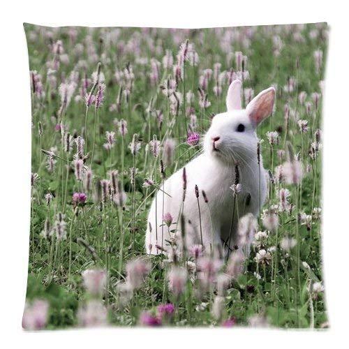 18' Funda Almohada Cuadrado Throw Pillow Case Poliéster Cre Lovely Rabbit Campo Flores Creativos Sofá Fundas Cojines Casa Oficina Coche