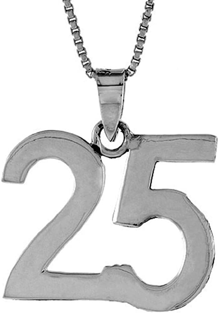 Sterling Silver Number オープニング 大放出セール 25 Necklace Jersey for Recovery Numbers 世界の人気ブランド