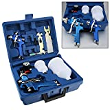 Shoze 2x HVLP Air Spray Gun Kit 1.4/0.8mm Tool Nozzle Paint Touch Up Gravity Feed Air