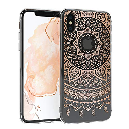 EAZY CASE Handyhülle Silikon mit Kameraschutz kompatibel mit Apple iPhone XS Max im Mandala Design, Henna Motiv Hülle, Ultra dünn, Slimcover, Silikonhülle, Backcover, Transparent Rosé-Gold