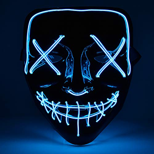 Hisome Maschera Halloween, LED Illumina la Maschere, Super Festival Cosplay Maschera Purging LED Clown Mask Halloween Accessori, Batteria alimentata(Non Inclusa) (Blu)