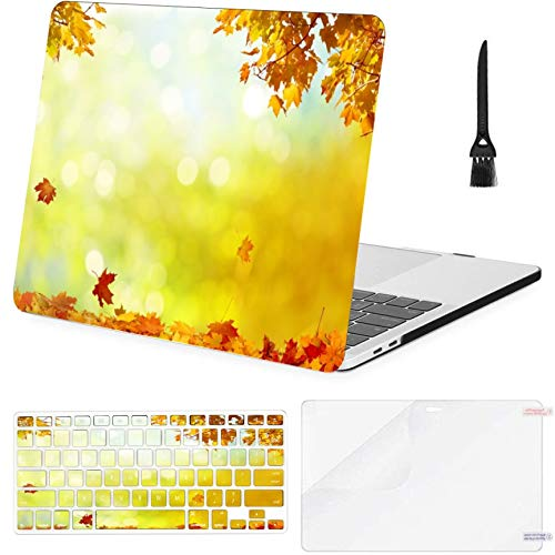 4 in 1 Laptop Case for MacBook Air 11 inch (2010-2015),a1370 A1465 Beautiful Autumn Landscape Yellow Trees Sun Hard Shell Cover with Keyboard Cover Screen Protector Cleaning Brush