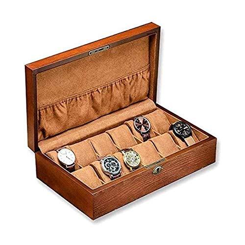 LSLS Caja joyero Cuadro de Reloj de 12 tragamonedas, Madera Grande Mostrar Caja Organizer Reloj de joyería de Reloj para Hombres Organizador de Joyas