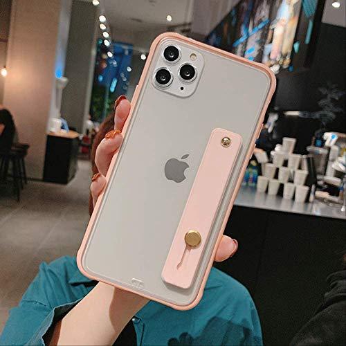 Funda de teléfono transparente parachoques a prueba de golpes para iPhone 12 11Pro X XR XS Max 8 7 6S Plus Soporte de correa de muñeca de TPU suave transparente Cubierta trasera para 6 Plus 6s Plus T4