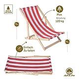 Amazinggirl Liegestuhl klappbar aus Holz Klappliegestuhl mit armlehne Strandstuhl Holzklappstuhl Garten - 5